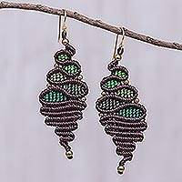 Macrame dangle earrings, 'Serpentine Way in Green' - Brown and Green Macrame Dangle Earrings