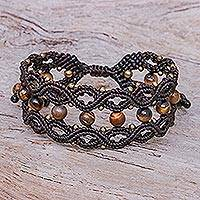 Tiger's eye beaded macrame bracelet, 'Winsome Earth' - Tiger's Eye and Brass Beaded Macrame Bracelet