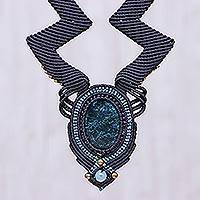 Macrame statement necklace, 'Mystic Sea' - Macrame Statement Pendant Necklace from Thailand