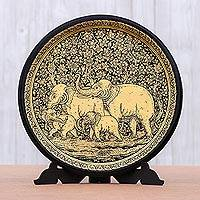 Lacquered wood decorative plate, 'Chiang Mai Elephants' - Handcrafted Thai Lacquered Wood Plate with Elephants