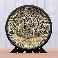 Lacquered wood decorative plate, 'Royal Barge Procession' - Handcrafted Thai Lacquered Wood Royal Barge Plate