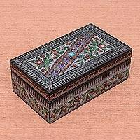 Lacquered wood box, 'Red Thai Garden' - Handcrafted Floral Thai Lacquered Wood Box