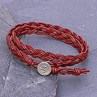 Braided leather wrap bracelet, 'Pa Sak Braid' - Om Symbol Braided Leather Wrap Bracelet