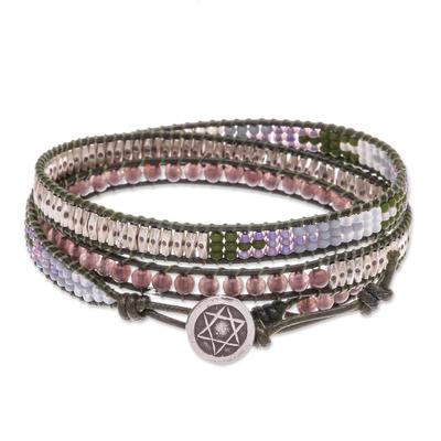 Leather and smoky quartz wrap bracelet, 'Pa Sak Star' - Beaded Leather Wrap Bracelet with Star of David