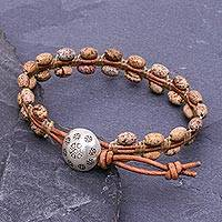 Jasper and leather beaded bracelet, 'Pa Sak Earth' - Leather and Jasper Bracelet with 950 Silver Button