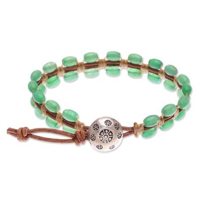 Quartz and leather beaded bracelet, 'Pa Sak Valley' - Leather and Green Quartz Beaded Bracelet