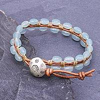 Quartz beaded wristband bracelet, 'Pa Sak Waters' - Cool, Blue Quartz and Leather Wristband Bracelet