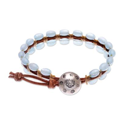 Quartz beaded wristband bracelet, 'Pa Sak Waters' - Cool, Blue Quartz and Leather Wristband Bracelet
