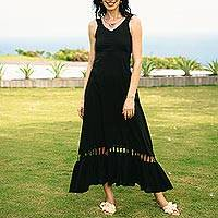 Cotton sundress, 'Soiree in Black' - Black Cotton Sundress Hand Crafted in Thailand