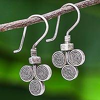 Silver drop earrings, 'Kariang Curls' - Oxidized 950 Silver Spiral Drop Earrings