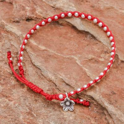 Silver beaded bracelet, Flower Path in Red