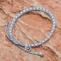 Silver beaded bracelet, 'Flower Path in Sky Blue' - Sky Blue Cord Bracelet with 950 Silver Beads