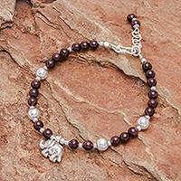 Garnet beaded bracelet, 'Sweet Elephant' - Garnet and Silver Beaded Bracelet with Elephant Charm