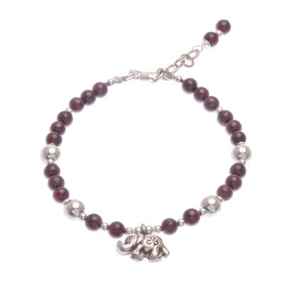 Garnet beaded bracelet, 'Sweet Elephant' - Garnet and Silver Beaded Bracelet with Elephant Charm