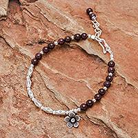 Garnet and silver beaded bracelet, 'Charming Bloom' - Flower Charm 950 Silver and Garnet Beaded Bracelet
