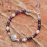 Amethyst and sterling silver beaded bracelet, 'Sweet Fish' - Fish Charm Amethyst Beaded Bracelet