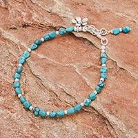 Reconstituted turquoise beaded bracelet, 'Sea Flower' - Sterling Silver and Reconstituted Turquoise Bracelet