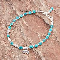 Reconstituted turquoise beaded bracelet, 'Flower Season'