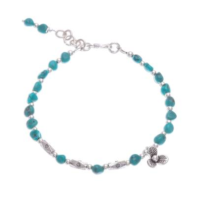 Reconstituted turquoise beaded bracelet, 'Flower Season' - 950 and Sterling Silver and Reconstituted Turquoise Bracelet