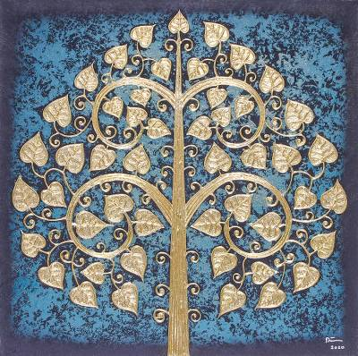 'Blue Sacred Tree' - Signed Thai Bodhi Tree Painting in Blue with Golden Foil