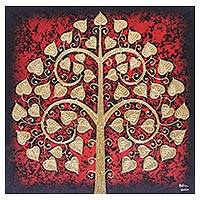 'Red Sacred Tree' - Signed Thai Bodhi Tree Painting in Red with Golden Foil