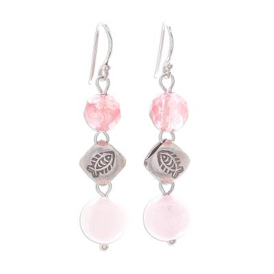 Hill Tribe Style Pink Quartz Dangle Earrings