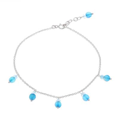 Blue Quartz Charm Anklet from Thailand