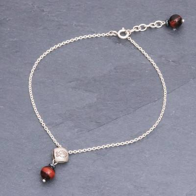Tiger's eye and sterling silver charm anklet, 'Tiger Fish' - Sterling Silver Chain Anklet with Tiger's Eye