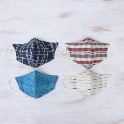 Cotton face masks 'Weekend Casual' (set of 4) - Cotton Handcrafted Thai Face Masks (Set of 4--2 L/ 2 SM)