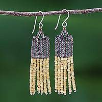 Beaded dangle earrings, 'Chao Phraya Fringe' - Long Thai Beaded Dangle Earrings