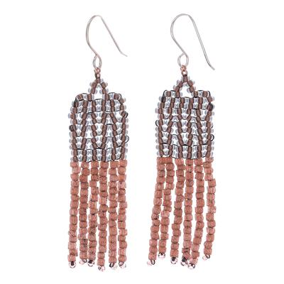 Beaded dangle earrings, 'Chao Phraya Tassels' - Bohemian Beaded Tassel Dangle Earrings from Thailand
