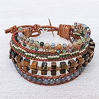 Multi-gemstone beaded wristband bracelet, 'Layers and Layers' - Multistrand Multi-Gemstone Wristband Bracelet