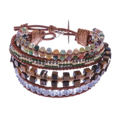 Multi-gemstone beaded wristband bracelet, 'Layers and Layers' - Multistrand Multi-Gemstone Wristband Bracelet