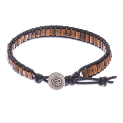 Tiger's eye beaded wristband bracelet, 'Channels' - Tiger's Eye Beaded Wristband Bracelet with Leather