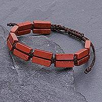 Jasper beaded wristband bracelet, 'Khao Kho Fire' - Red Jasper Beaded Macrame Bracelet