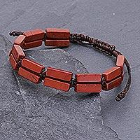 Jasper beaded wristband bracelet, 'Khao Kho Fire' - Red Jasper Beaded Macrame Bracelet