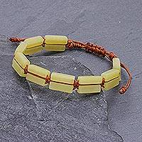 Quartz beaded wristband bracelet, 'Khao Kho Sunlight' - Adjustable Length Yellow Quartz Macrame Bracelet