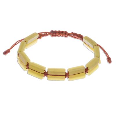 Quartz beaded wristband bracelet, 'Khao Kho Sunlight' - Adjustable Length Yellow Quartz Macrame Bracelet