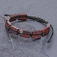 Jasper beaded wristband bracelet, 'Khao Kho Nature' - Dark Red Jasper and Black Cord Bracelet