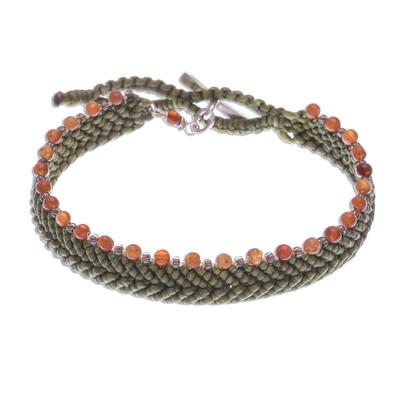 Olive Macrame Bracelet with Carnelian Beads