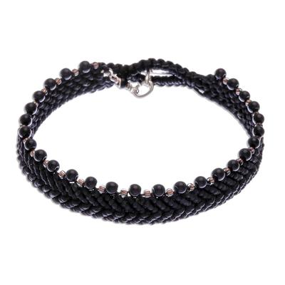 Black Onyx and Macrame Cord Wristband Bracelet