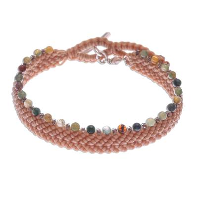 Buff Macrame Bracelet with Agate and Glass Beads