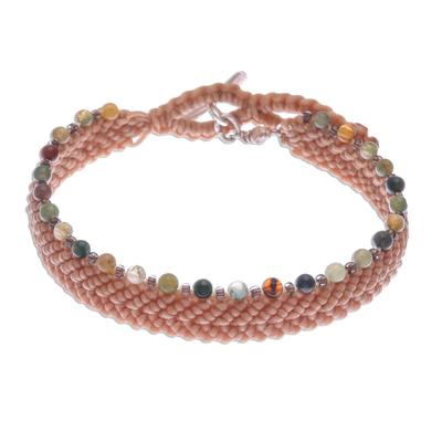 Agate beaded macrame bracelet, 'Marquee in Buff' - Buff Macrame Bracelet with Agate and Glass Beads