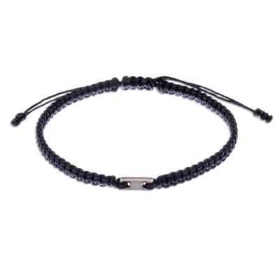 Macrame bracelet with 950 silver accent, 'Classic Cool' - Black Macrame Adjustable Bracelet with Silver Charm
