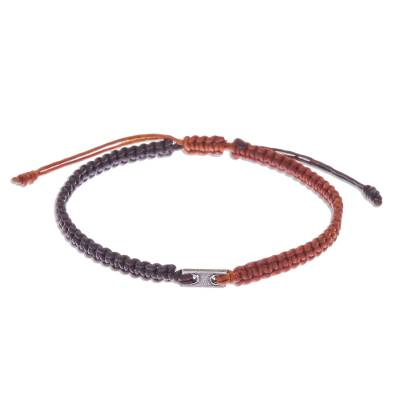 Macrame bracelet with 950 silver accent, 'Rustic Roots' - Unisex Macrame Sliding Knot Poly Cord Bracelet Brown/Rust