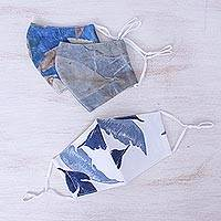 Cotton face masks, 'Blue Nature' (set of 3) - 3 Eco-Dyed Blue-White-Grey Print Cotton 3-Layer Face Masks