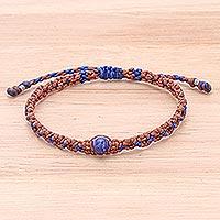 Lapis lazuli macrame bracelet, 'Bohemian Chic' - Macrame Cord Bracelet with Lapis Lazuli Pendant
