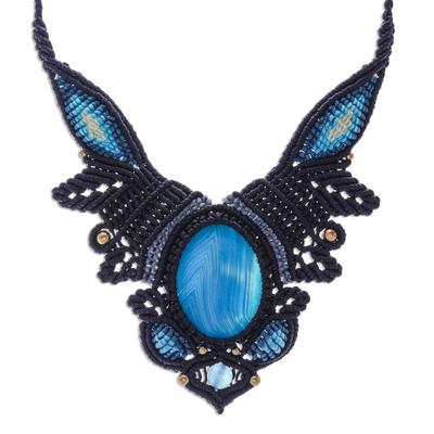 Agate and quartz macrame pendant necklace, 'Bohemian Treasure' - Macrame Pendant Necklace with Agate and Quartz