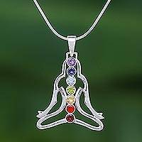 Multi-gemstone pendant necklace, 'Seven Chakra Rainbow' - Thai Gemstone and Sterling Silver 7 Chakra Necklace