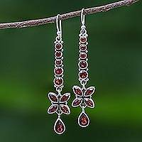 Garnet dangle earrings, 'Scarlet Butterfly' - Thai Garnet and Sterling Silver Butterfly Dangle Earrings
